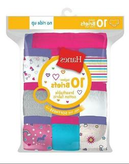 10-Pack Hanes Girls Cotton Briefs Assorted Colors/Prints Pan