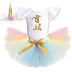 1st Birthday Unicorn Party Baby Girls Outfits Dress Sets Pri