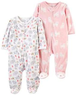 2 Pack Baby Girls Fleece Footed Sleep and Play Suits Polyest