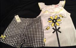 Kids Headquarters 2 Pc Sleeveless Top Bees Black Gingham Sho