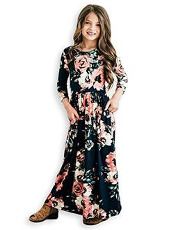 21KIDS Girls Floral Flared Pocket Maxi Three-Quarter Sleeves