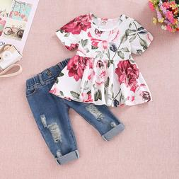 2PC Toddler Kids Baby Girls Floral Crop Tops+Hole Pants Jean