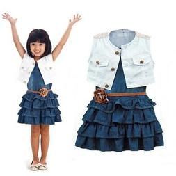 2Pcs Girls Kids Baby Sleeveless Vest Tops + Skirt Tutu Dress
