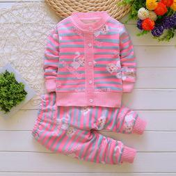 2pcs Girls Warm Outfits Baby Fleece Velvet Tracksuit Sets To