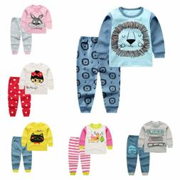 2pcs Kids Baby boys girls clothes top+pants cotton baby paja