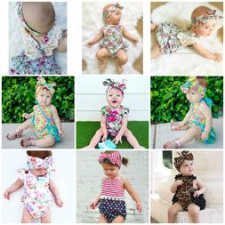 2pcs Newborn Baby Girl Romper+ Headband Jumpsuit Bodysuit Ou