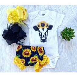 2PCS Newborn Toddler Baby Girls Tops Romper Floral Pants Out