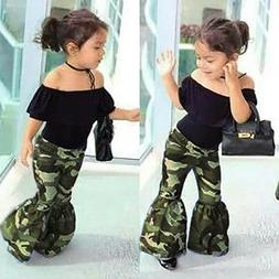 2Pcs Toddler Baby Clothes Girls Ruffle Tops+Bell Bottoms Fla