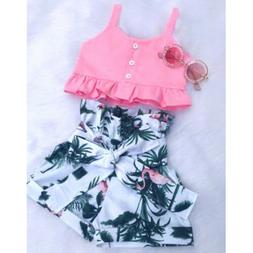 2PCS Toddler Baby Girls Outfit Clothes Vest T-shirt Top+Bowk