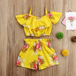 2pcs Toddler Kid Baby Girl Clothes Floral Ruffle T Shirt Top