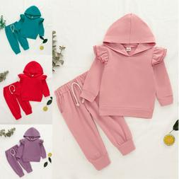 2PCS Toddler Kids Baby Girl Long Sleeve Hooded Tops+Pants Ou