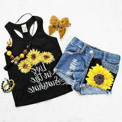 2Pcs Toddler Kids Baby Girls Clothes Tops Vest +Ripped Short