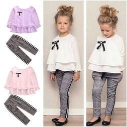 2Pcs Toddler Kids Baby Girls Tops Long Pants Plaid Outfits S