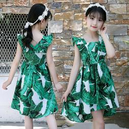 3-12Y Kids Teen Girls Sleeveless Leaf Print Ruched Dress Cas