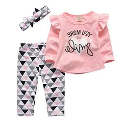 3 Pcs Baby Girl Clothes Long Sleeve Letter You Make Me Smile