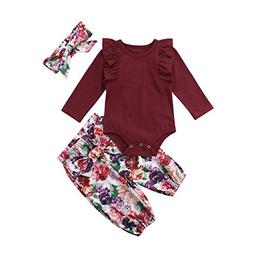 3PCS Clothes Set Newborn Toddler Baby Girl Romper Bodysuit J