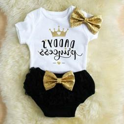 3PCS Cute Newborn Baby Girl Outfits Clothes Tops Romper+Tutu