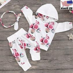 3PCs Newborn Baby Girls Romper Hooded Tops + Pants Outfits S