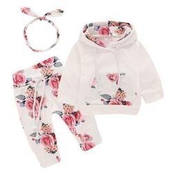 3PCS Newborn Kids Baby Girl Clothes Hooded Sweater Tops+Flor