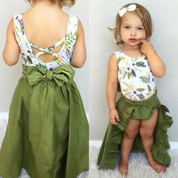 3PCS Toddler Baby Girls Clothes Floral Tops Vest+Shorts+Skir