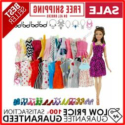 42 Pack Barbie Doll Clothes Party Gown Outfits Shoes Glasses