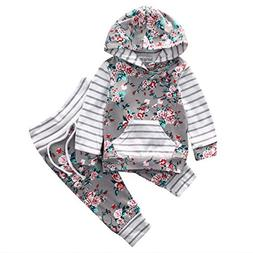 Baby Girl 2pcs Set Outfit Flower Print Hoodies with Pocket T