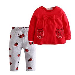 Baby Girls Clothes Set 2 Piece Long Sleeve Ladybug Pattern T
