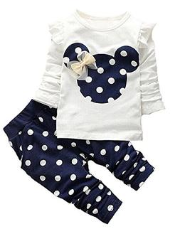Cute Toddler Baby Girls Clothes Set Long Sleeve T-Shirt and