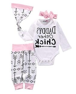 Emmababy Newborn Girls Clothes Baby Romper Outfit Pants Set