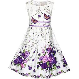KP13 Girls Dress Purple Butterfly Flower Party Size 7-8
