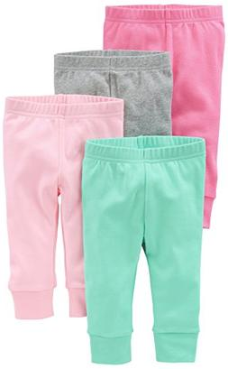 Simple Joys by Carter's Baby Girls 4-Pack Pant, Pink/Grey, 3