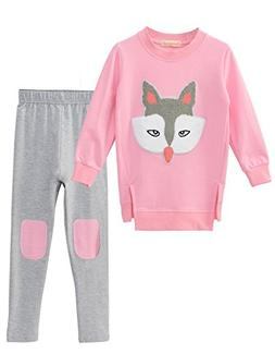 Winter Kids Little Girls Long Sleeve Top & Pants Outfits Clo
