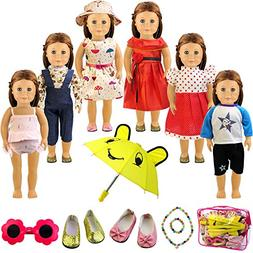Holicolor 13pcs American Girl Doll Clothes Dress Outfits War