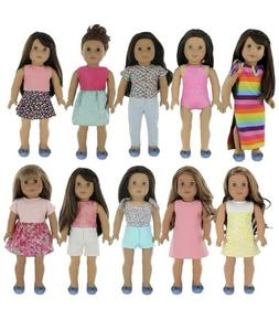 PZAS Toys 18 Inch Doll Clothes - Wardrobe Makeover, 10 Outfi