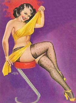 American Pinups: Titter - Brunette Girl Wrapped in Yellow Cl