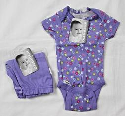 Baby Girl Clothes Onesies by Gerber 2 pc Set 12 MO Purple Fl