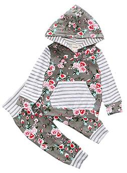 baby girl toddler striped hoodies with pocket