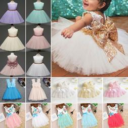 Baby Girl Tutu Tulle Dress Princess Party Sequins Lace Flowe