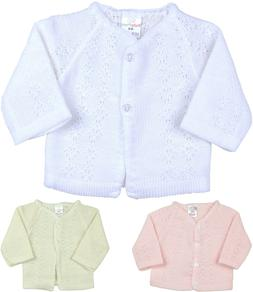 BabyPrem Baby Girls Clothes Knitted White Pink Cardigan Swea