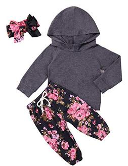 Baby Girls Clothes Long Sleeve Grey Hoodie Tops Flowers Pant