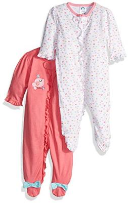 Gerber Baby Girls' 2 Pack Zip Front Sleep 'n Play,Birdie,6-9