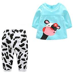 baby girls outfits cartoon cow long sleeve