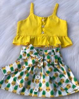 Baby Girls Summer Clothing Tank Tops+Pineapple Skirts Dress