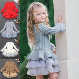 Baby Kids Girls Knit Sweater Jumper Pullovers Crochet Tutu D