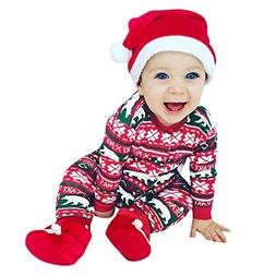 Bear X-MAS Unisex Baby Romper and Hat Set, One Piece Jumpsui
