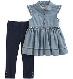 Calvin Klein Big Girls Blue Chambray Tunic & Legging Set Siz
