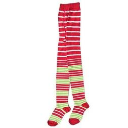 Jefferies Socks Big Girls Red Lime Striped Holiday Cotton Ti