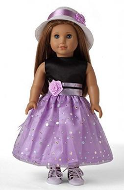 """Black & Light Purple Party Dress Doll Clothes for 18"""" Americ"""
