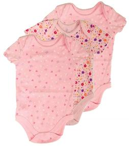 Bodysuit Lot Newborn Baby Girl Clothes Set 3 Pack Pink Butte