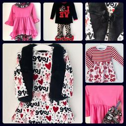 Boutique USA Girls Valentine Clothes Ruffle Tops Dress Set L